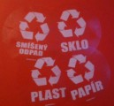 Smíšený odpad (kulatá průhledná samolepka, bilý tisk)