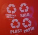 Tříděný odpad samolepky (průhledné, bilý tisk)