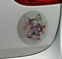 Stříbrná samolepka na auto kočka